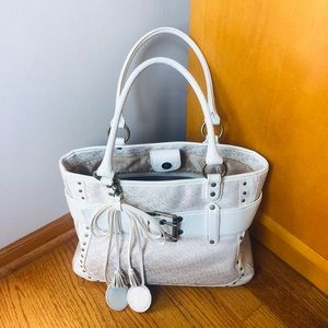 BCBG White Shoulder Tote Bag